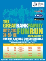 The Great Bank Family Fun Run – Run for Savings Consciousness 2 500m/3K/5K/10K – Aseana City, Pasay City, Sunday, July 21, 2013
